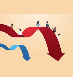 Businesspeople sliding down falling economic arrow vector