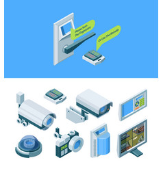 camera security smart isometric set modern vector image