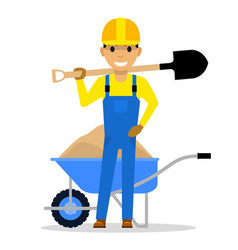 cartoon character builder holding a shovel vector image