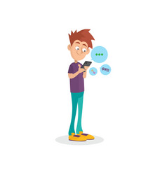 Cartoon teenager using mobile phone for chatting vector