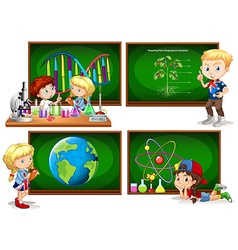 Children and different school subjects vector