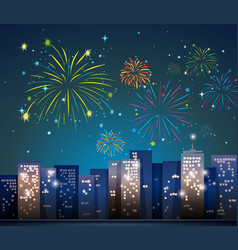 City scene with fireworks at night vector