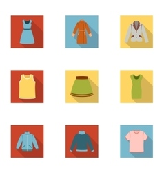 Clothes set icons in flat style Big collection of vector