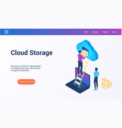 cloud storage isometric design concept2 vector image