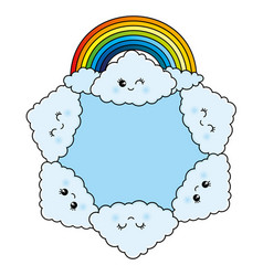 clouds and a rainbow vector image