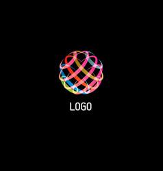 Colorful circle abstract line art logo vector