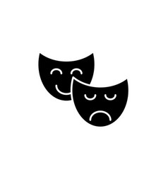 comedy and tragedy black icon sign on vector image