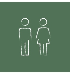 Couple icon drawn in chalk vector image