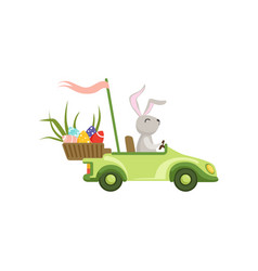 Cute bunny driving green vintage car with easter vector
