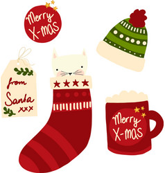 cute christmas icons set hand drawn vector image