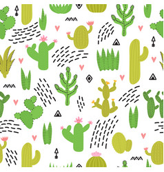 Cute seamless pattern with cacti and succulents vector