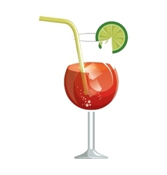 delicious tropical cocktail isolated icon vector image