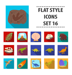 Dinosaurs and prehistoric set icons in flat style vector