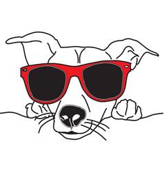 dog face with sunglasses black vector image