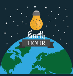 earth hour light bulb environment world map stars vector image