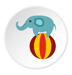 Elephant on ball icon circle vector