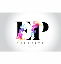 ep vibrant creative leter logo design with vector image