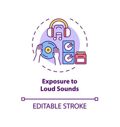 Exposure to loud sounds concept icon vector