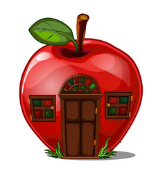 fairy house in shape an apple isolated on a vector image