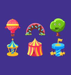 fantasy amusement park icons set fairytale vector image