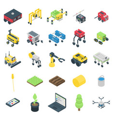 Farming robot icons set isometric style vector
