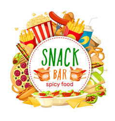 Fast food snack bar poster vector
