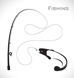 Fishing rod and fish vector