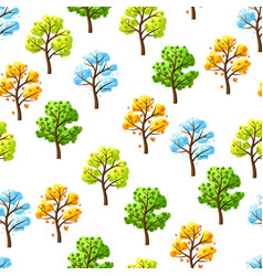 four seasons trees pattern vector image
