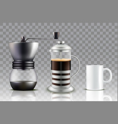 French press coffee set vector