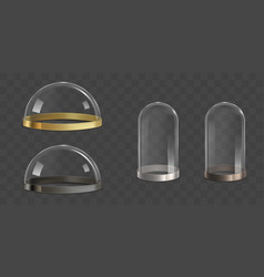 glass domes bell jars realistic set vector image