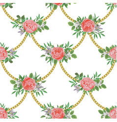 golden chains and flowers fashion seamless pattern vector image