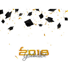 Graduate caps and confetti on a white background vector