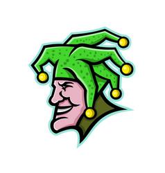 Harlequin head side mascot vector