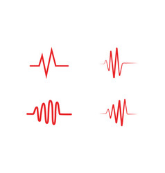 heart beat wave logo line vector image