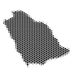 Hexagon halftone saudi arabia map vector