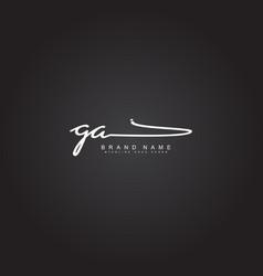 initial letter ga logo - hand drawn signature logo vector image