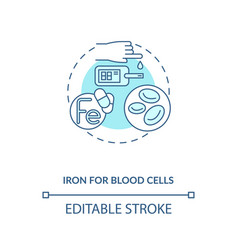 Iron for blood cells concept icon vector