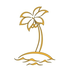 Island with a palm vector image