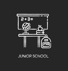 Junior school chalk white icon on black background vector