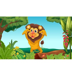 King lion in the woods vector image vector image