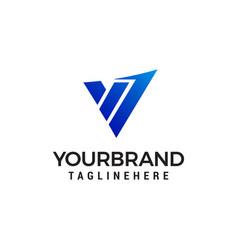 letter v tech logo design concept template vector image