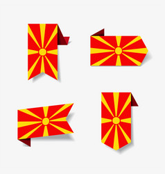 macedonian flag stickers and labels vector image