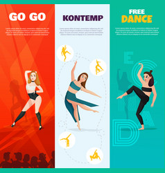 Modern dances vertical banners vector