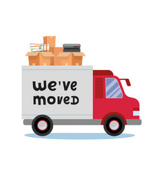 Moving truck and cardboard boxes moving office vector