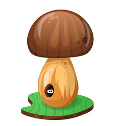 Mushroom and cartoon worm vector