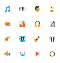 Music flat icons set collection of media vector