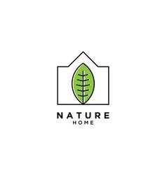 Nature home logo simple line logo template vector
