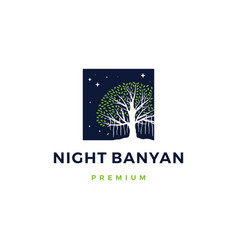 night banyan tree logo icon vector image
