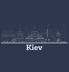 Outline kiev ukraine city skyline with white vector