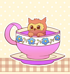 Owl cute little funny kawaii animal pet vector
